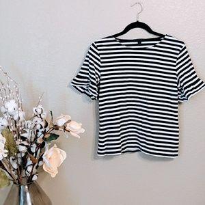 J Crew Black & White Striped Knit Top Sz 2